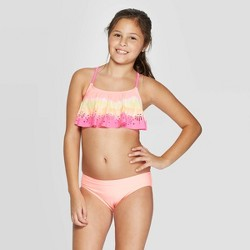 Girls' Mermaid Wishes Flounce Bikini Set - Cat & Jack™ Coral