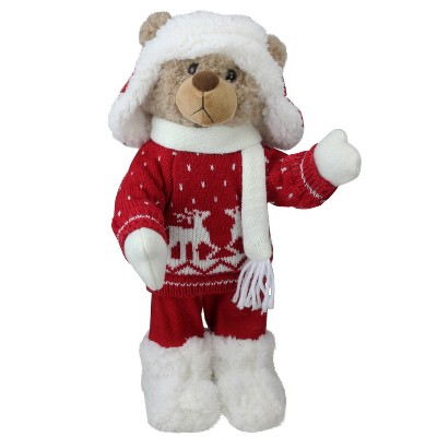 """Northlight 14"""" White and Red Winter Boy Bear in Deer Sweater Christmas Figure Decoration"""