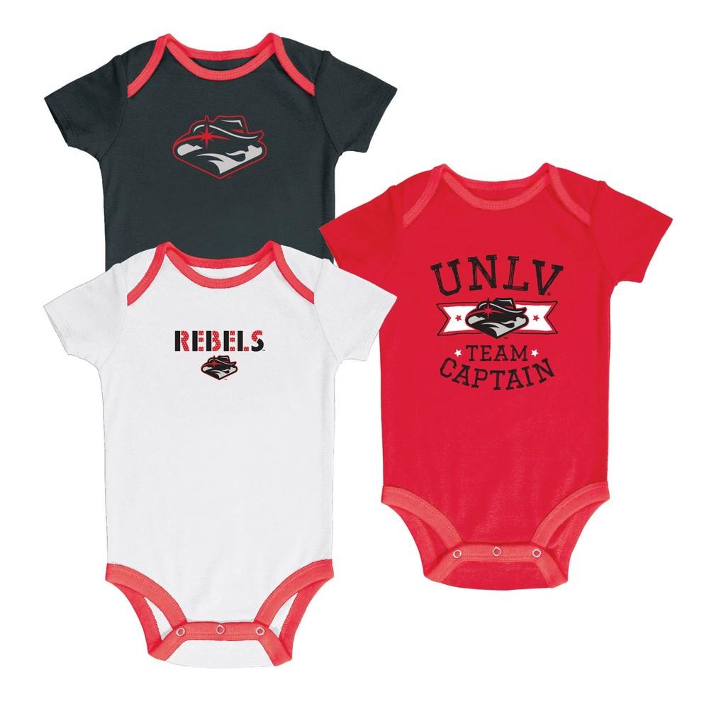 Unlv Rebels Newest Fan 3pk Bodysuit Set 6-9M, Multicolored