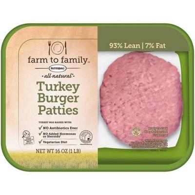 Butterball Farm to Family 93/7 Turkey Burger Patties - 16oz