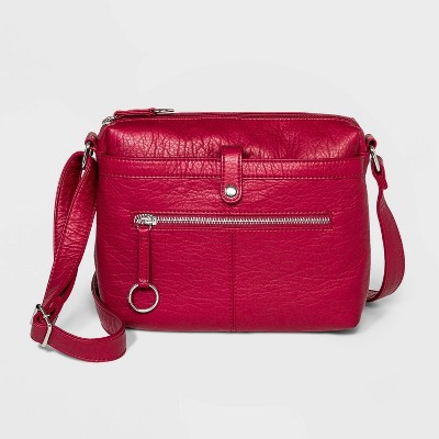 Bueno Zip Closure Crossbody Bag - Red