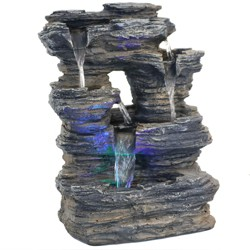5 Stream Rock Cavern Tabletop Fountain with Blue/Green LED Lights - Sunnydaze Decor