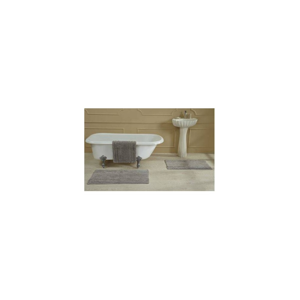 "Image of ""17""""X24"""" Ruffle Border Bath Rug Gray - Better Trends"""
