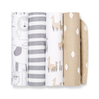 Flannel Baby Blankets Animals 4pk - Cloud Island™ Tan/Gray