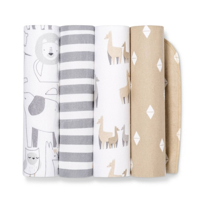 Flannel Baby Blankets Animals 4pk - Cloud Island™ Tan/Gray - image 1 of 1