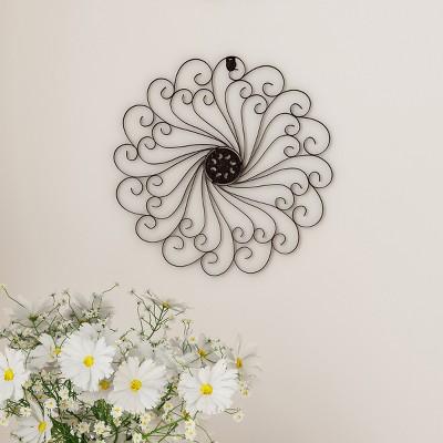 15.25  Swirl Round Medallion Metal Wall Art Almost Black - Lavish Home