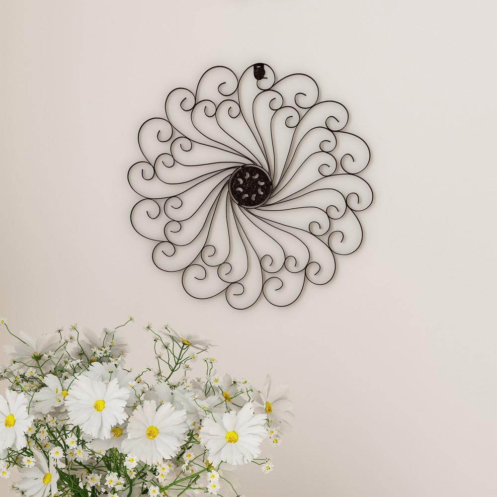 "Image of ""15.25"""" Swirl Round Medallion Metal Wall Art Almost Black - Lavish Home"""