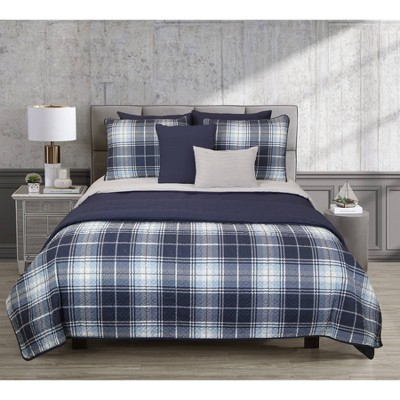 Riverbrook Home Plaid Layered Comforter & Coverlet Set Gray/Navy