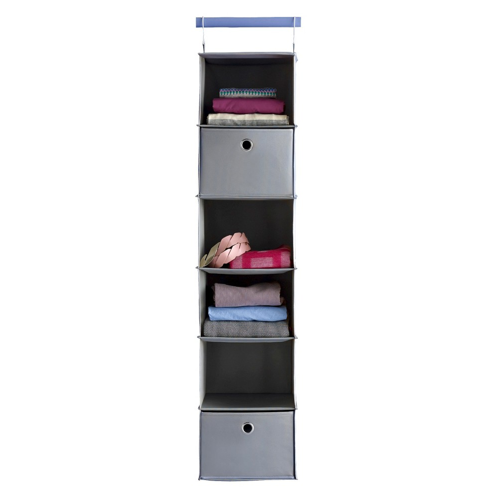 Image of 6-Shelf Hanging Closet Organizer Gray - Room Essentials