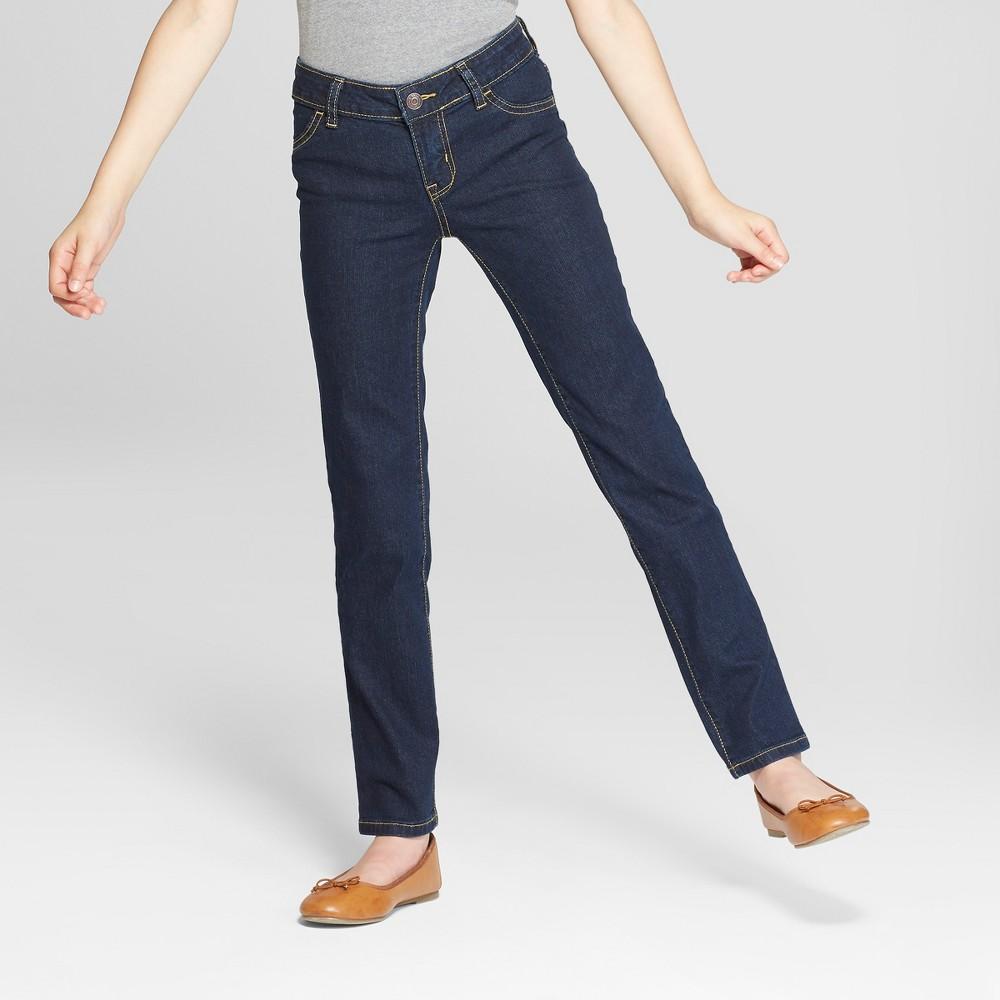 Girls' Straight Jeans - Cat & Jack Dark Wash 12, Blue