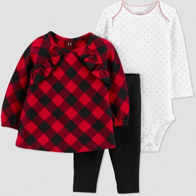 Baby Girls' 3pc Buffalo Plaid Tunic Set - Just One You® made by carter's Red 6M
