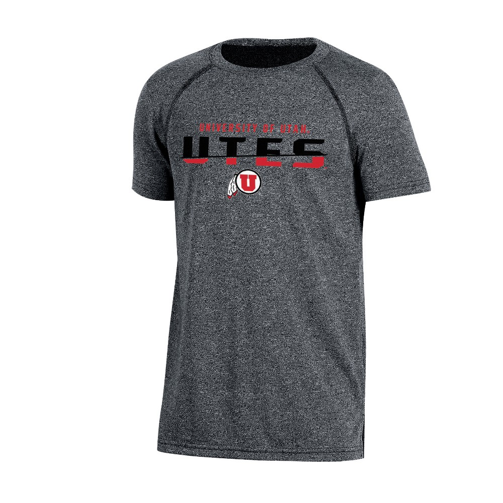 Utah Utes Boys Short Sleeve Crew Neck Raglan Performance T-Shirt - Gray Heather XS, Multicolored