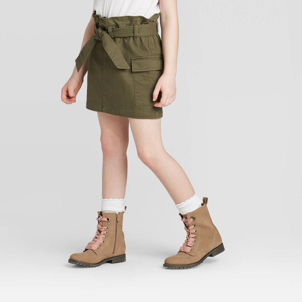 Image of Girls' Paperbag Waist Cargo Skirt - art class Olive L, Girl's, Size: Large, Green