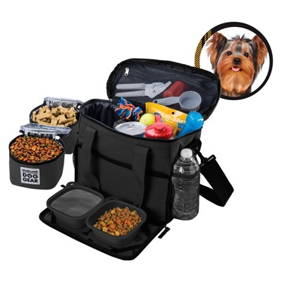 Overland Dog Gear™ Travel Bag - Week Away Bag for Small Dogs with 2 Food Carriers, Placemat & 2 Bowls