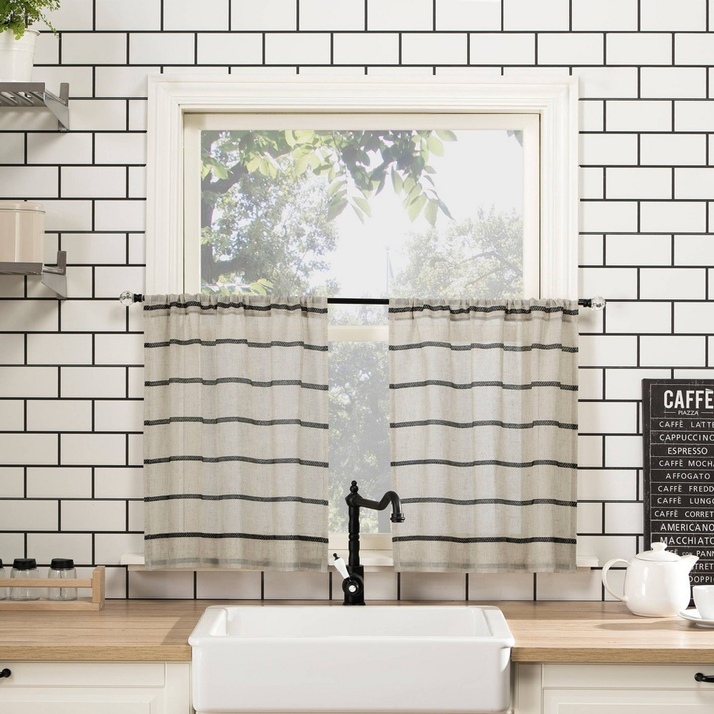 "Image of ""52""""x24"""" Twill Stripe Anti-Dust Cafe Sheer Curtain Pair Cream Black - Clean Window"""