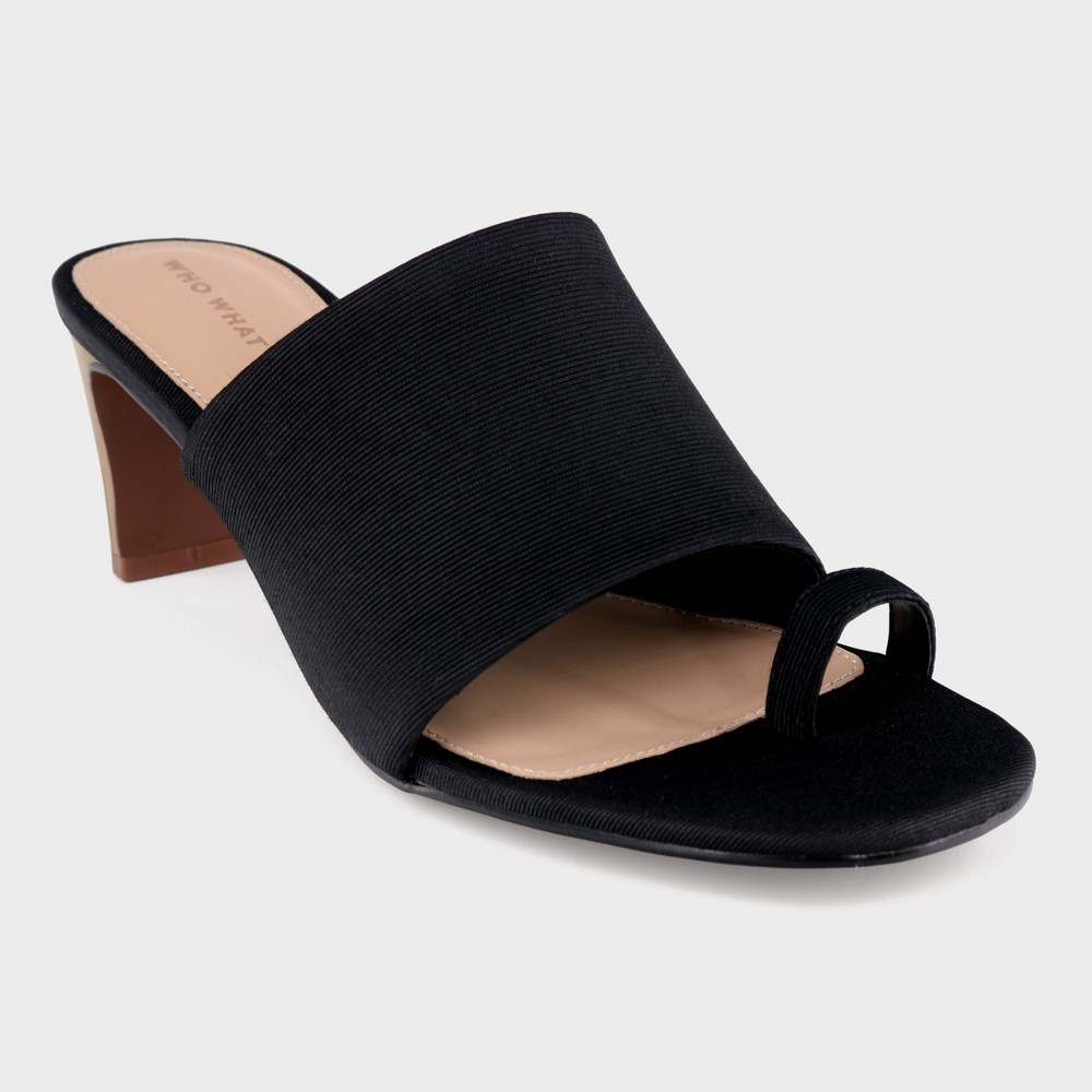 Women's Ruth Toe Ring Wood Heeled Pumps - Who What Wear Black 8.5