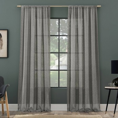 Subtle Foliage Recycled Fiber Sheer Curtain Panel - Clean Window