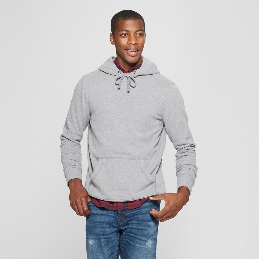 Men's Standard Fit Long Sleeve Fleece Hooded Sweatshirt - Goodfellow & Co Gray L