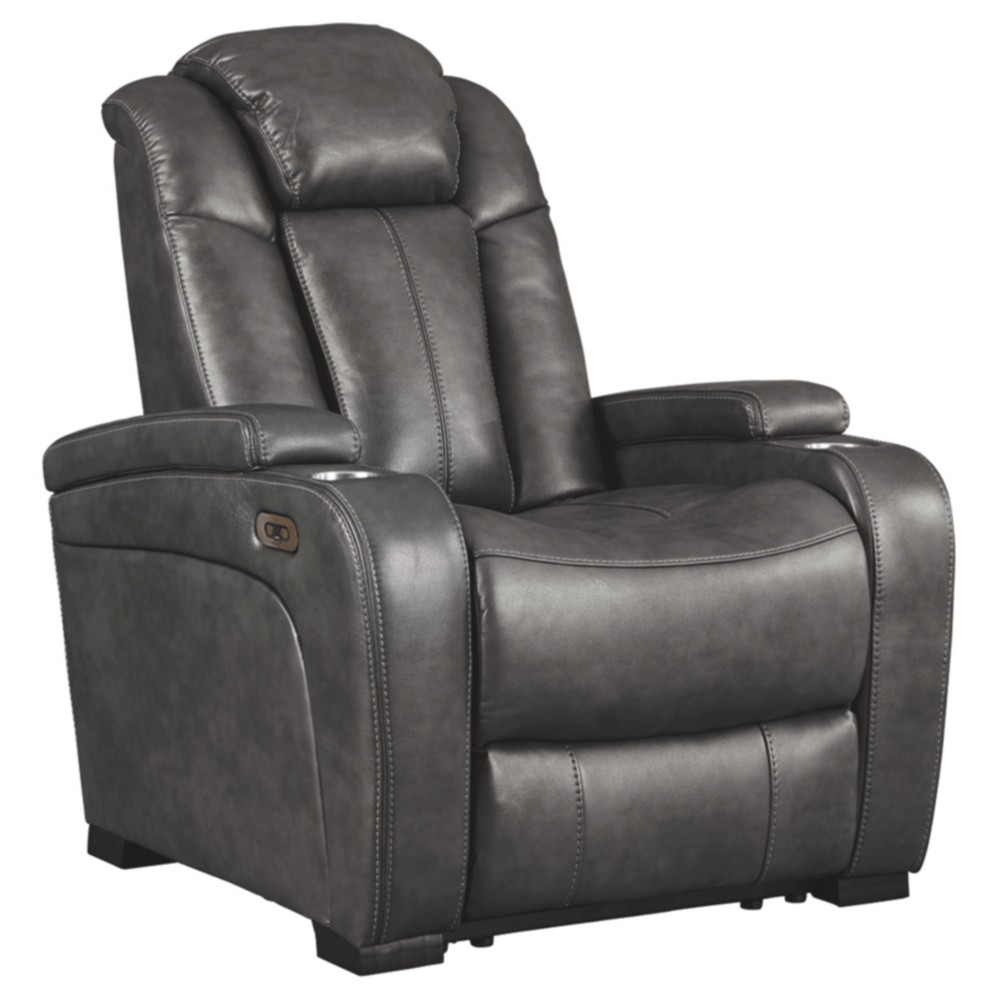 Turbulence Power Recliner with Adjustable Headrest Gray Heather - Signature Design by Ashley