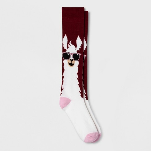 Women's Llama in Sunglasses Casual Socks - Xhilaration™ Maroon One Size - image 1 of 1