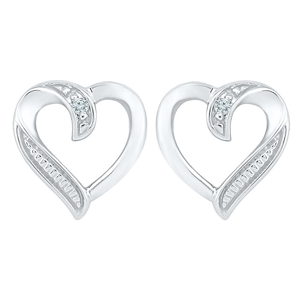 Image of 0.02 CT. T.W. Round White Diamond Prong Set Heart Earring in Sterling Silver (IJ-I2-I3), Women's