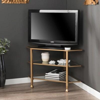 Jamel Metal/Glass Corner TV Stand Gold - Aiden Lane : Target