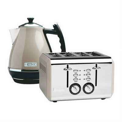 Haden Cotswold Wide Slot Stainless Steel Retro 4 Slice Toaster & Cotswold 1.7 Liter Stainless Steel Body Retro Electric Kettle, Putty Beige