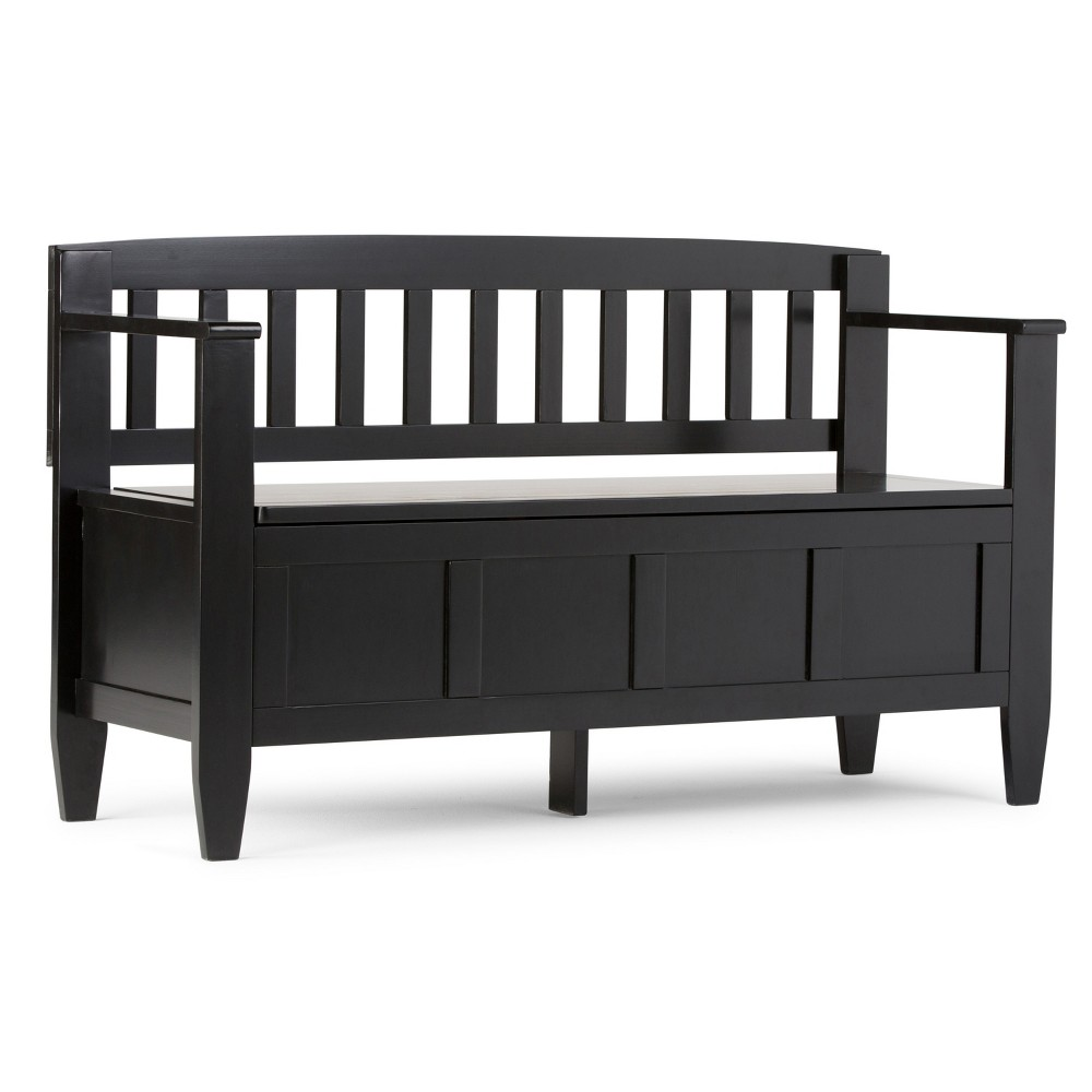 Outstanding Riverside Solid Wood Entryway Storage Bench Black Wyndenhall Cjindustries Chair Design For Home Cjindustriesco