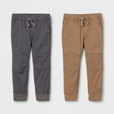 Toddler Boys' Jogger Fit 2pk Pull-On Pants - Cat & Jack™ Brown/Gray 3T