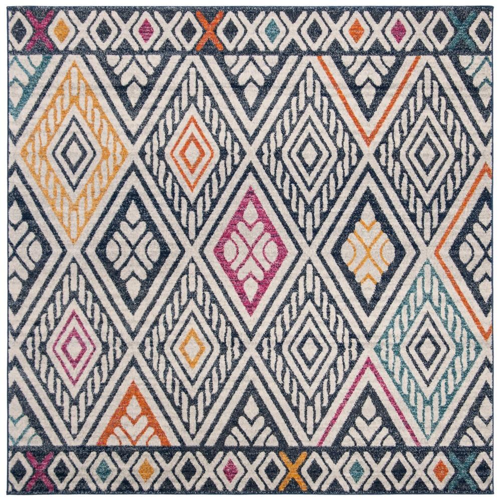 67X67 Geometric Design Loomed Square Area Rug Navy/Ivory - Safavieh Reviews