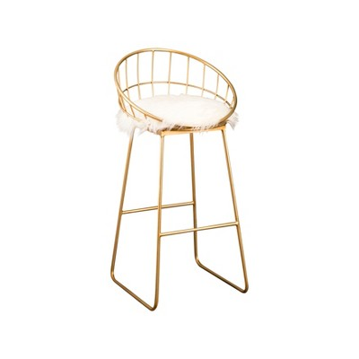 """30"""" Miley Faux Fur Barstool Gold - Abbyson Living"""
