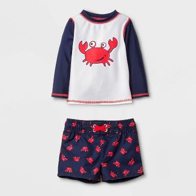 Baby Boys' Long Sleeve Crab Rash Guard Set - Cat & Jack™ Navy 3-6M