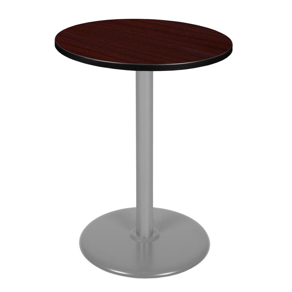 30 Via Cafe High Round Platter Base Table Mahogany/Gray (Brown/Gray) - Regency