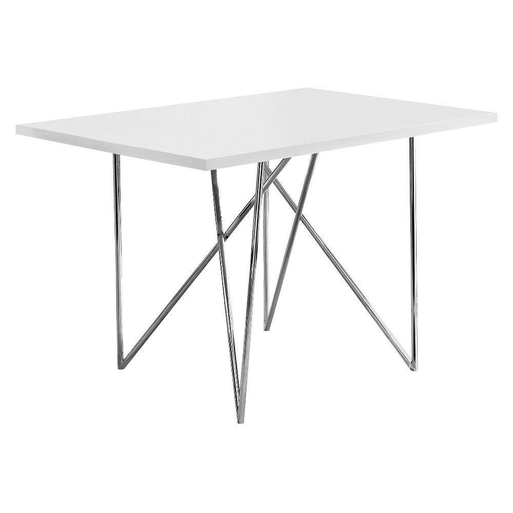 Dining Table- White, Chrome Metal - EveryRoom