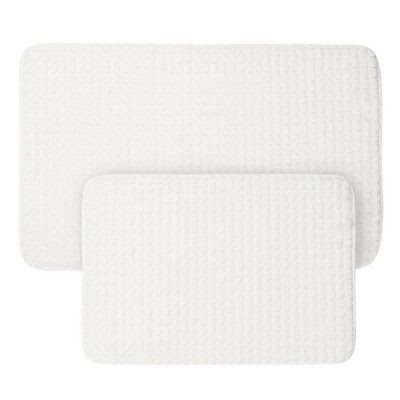 Jacquard Memory Foam Bath Mat Set White - Yorkshire Home