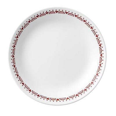 "Corelle 8.5"" Glass Cordoba Salad Plate Red/White"