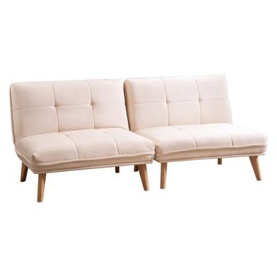 Toronto Fabric Convertible Chair Set Of 2 Ivory   Abbyson Living