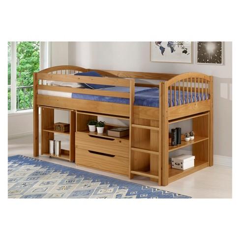 Twin Addison Junior Loft Bed With Storage Drawers Bookshelf And Desk