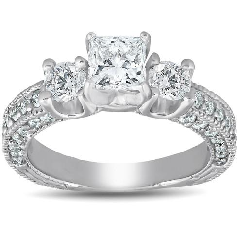 Pompeii3 2 1 4ct Princess Cut 3 Stone Enhanced Diamond Vintage Engagement Ring 14k Target