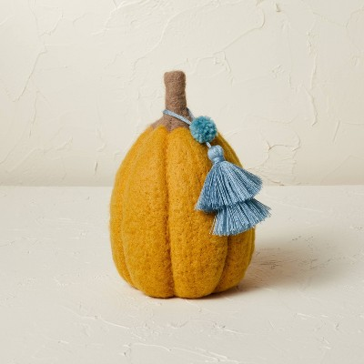 """7.5"""" x 5"""" Felted Pumpkin Figurine Gold - Opalhouse™ designed with Jungalow™"""