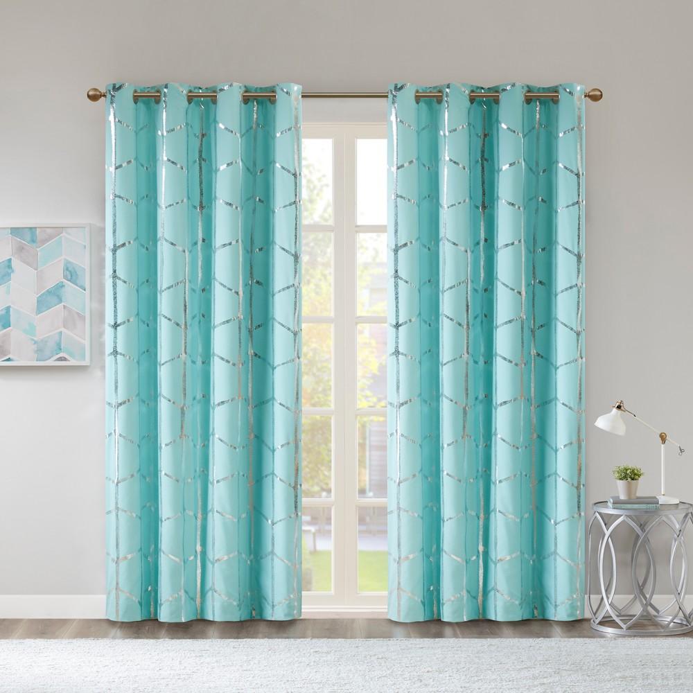 Arielle Blackout Metallic Printed Curtain Panel Aqua 50