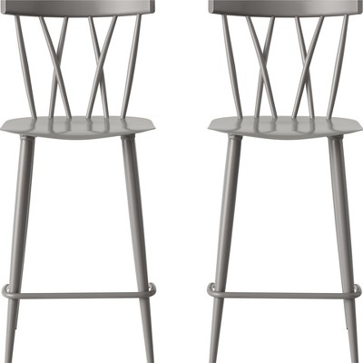 Set of 2 Becket Metal X Back Counter Stool Gray - Project 62™