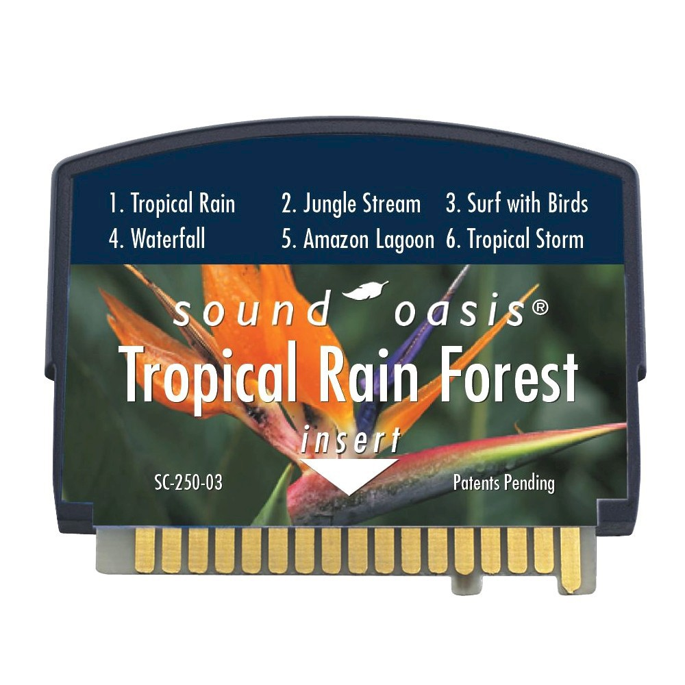Sound Oasis Tropical Rain Forest Sound Card (SC-250-03) This Tropical Rain Forest Sound Card from Sound Oasis allows you to add six exotic sounds of the tropics to your sound therapy system. Infusing a room with authentic nature sounds, this Sound Oasis sound card blocks out unpleasant noises to create a peaceful atmosphere, allowing you to fall asleep easier and embrace a more calming atmosphere in your home.