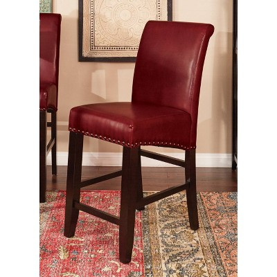 Parsons Dining Chair with Nailheads Hardwood/Crimson Red - OSP Home Furnishings