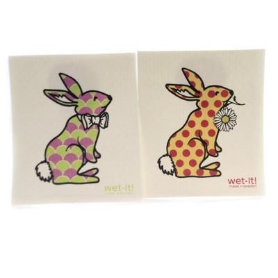 """Swedish Dish Cloth 7.75"""" Spring Bunny Set Cleaning Cloth Rabbit  -  Dish Cloth"""
