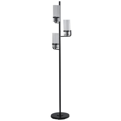 3 Head Black Floor Lamp with Clear Ribbed Glass Shades  - StyleCraft