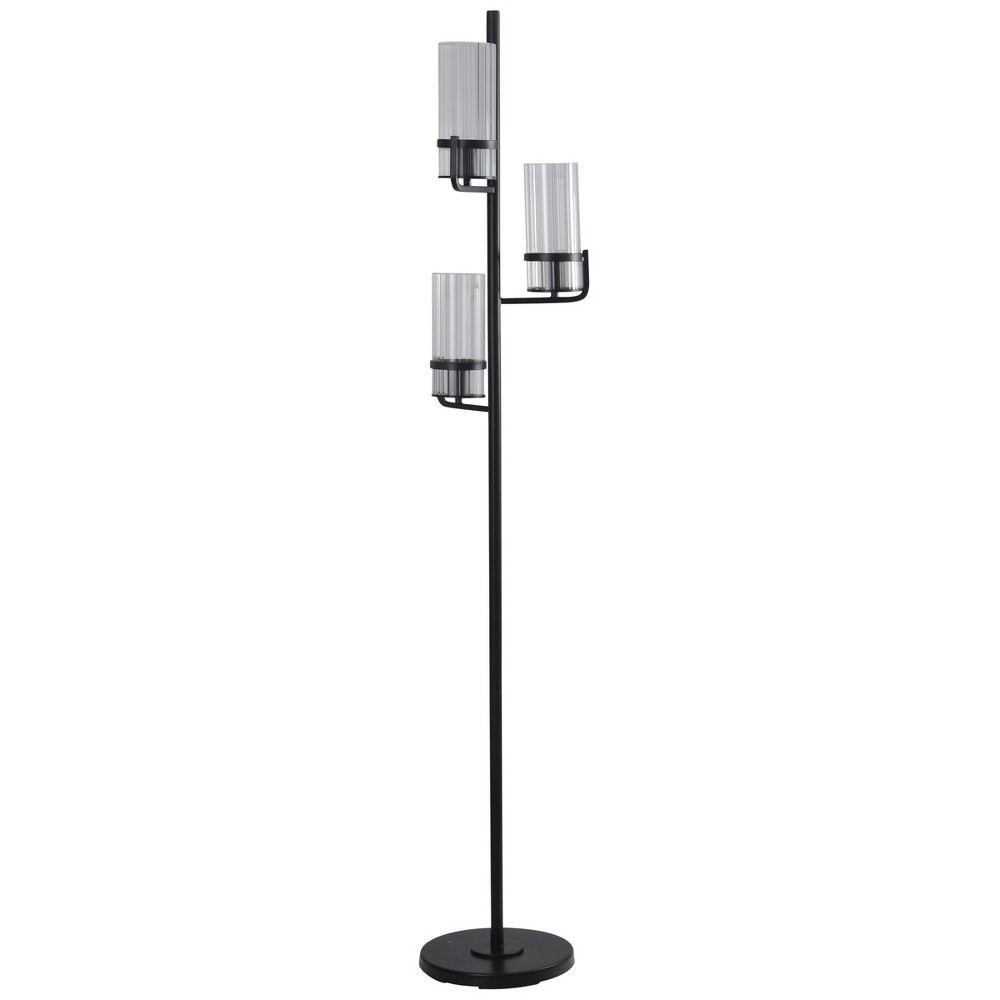 3 Head Black Floor Lamp with Clear Ribbed Glass Shades (Lamp Only) - StyleCraft