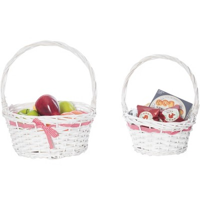 Vintiquewise White Willow Bowl Baskets Red Gingham Bow with Handle, Set of 2