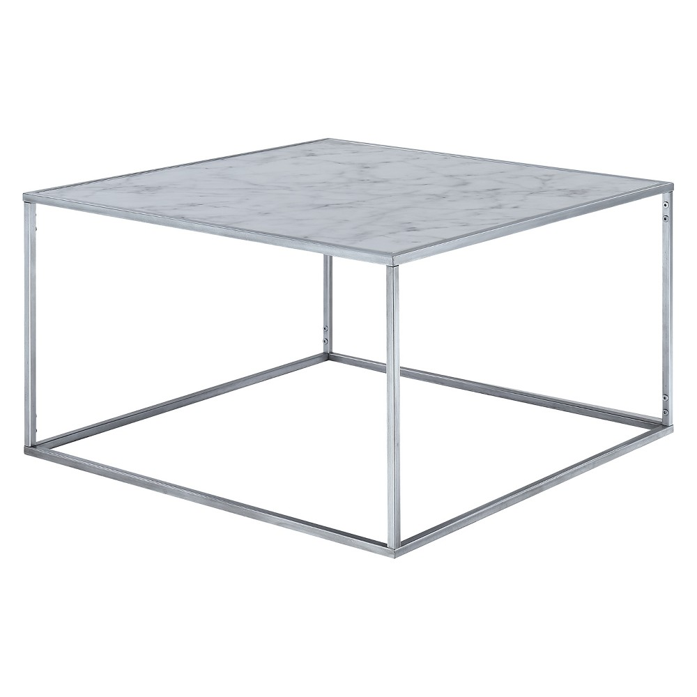 Gold Coast Faux Marble Coffee Table Faux Marble/Silver - Johar