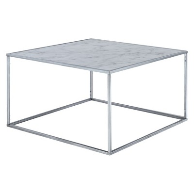 Gold Coast Faux Marble Coffee Table Faux Marble/Silver   Johar : Target